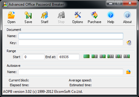 Advanced Office Password Breaker main window