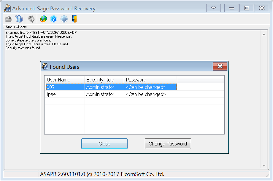 Advanced Sage Password Recovery Main Window