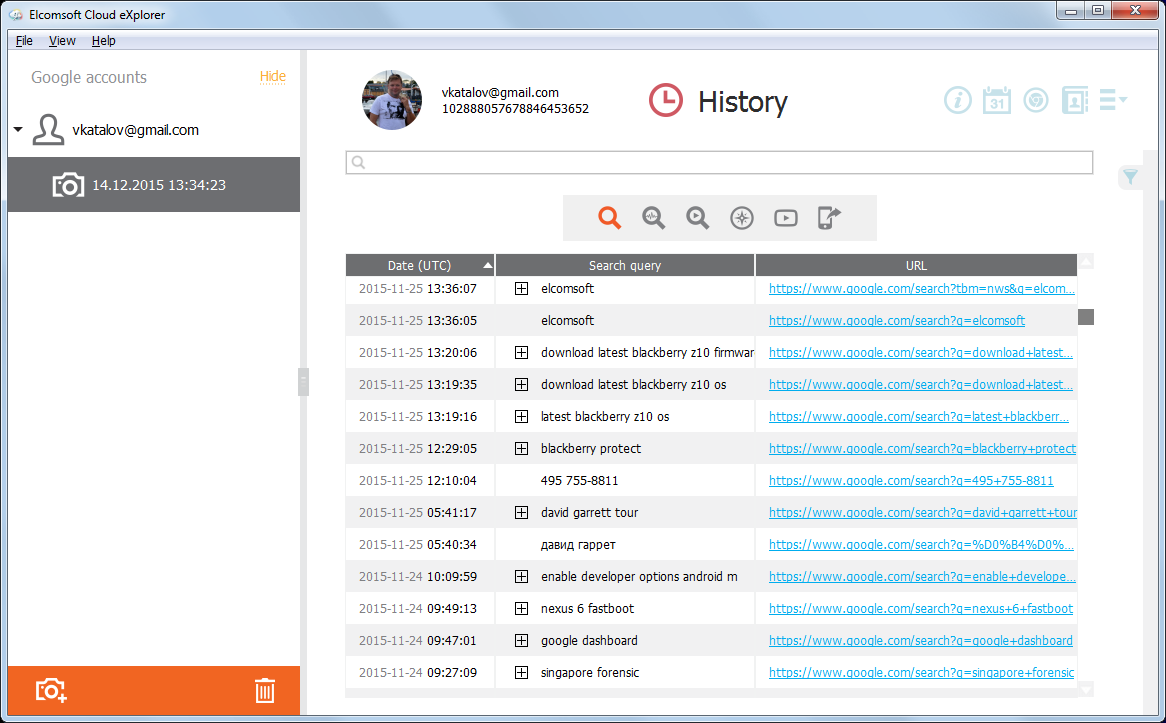 Elcomsoft Cloud Explorer: search history details