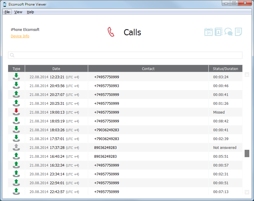 Elcomsoft Phone Viewer: Calls